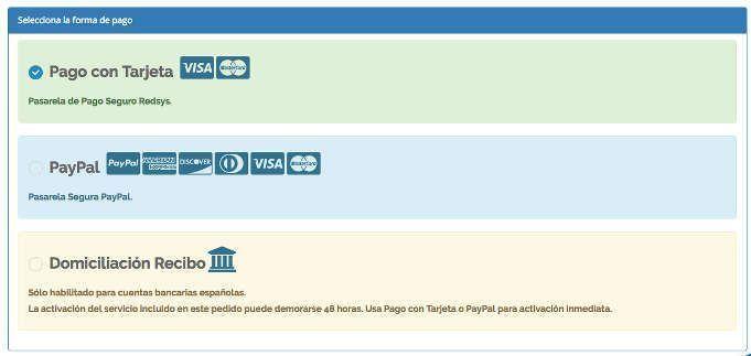 seleccionar forma de pago del hosting webempresa trabajarporelmundo. crear un blog de viajes