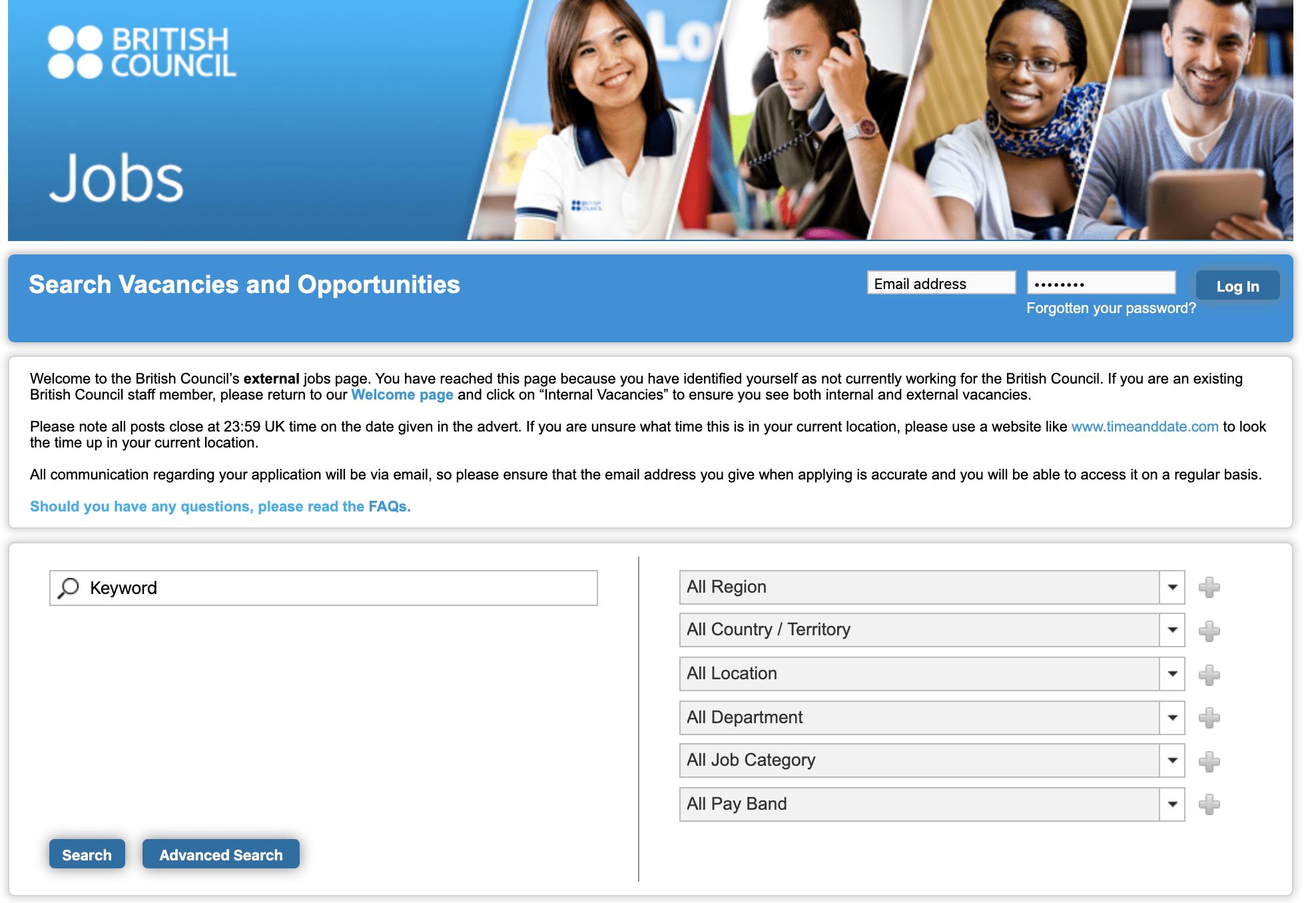 Web de empleo del British Council