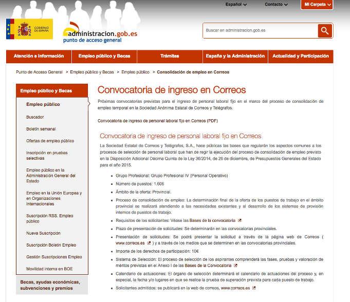 Nueva convocatoria para trabajar en correos - Trabajar en facebook espana ...