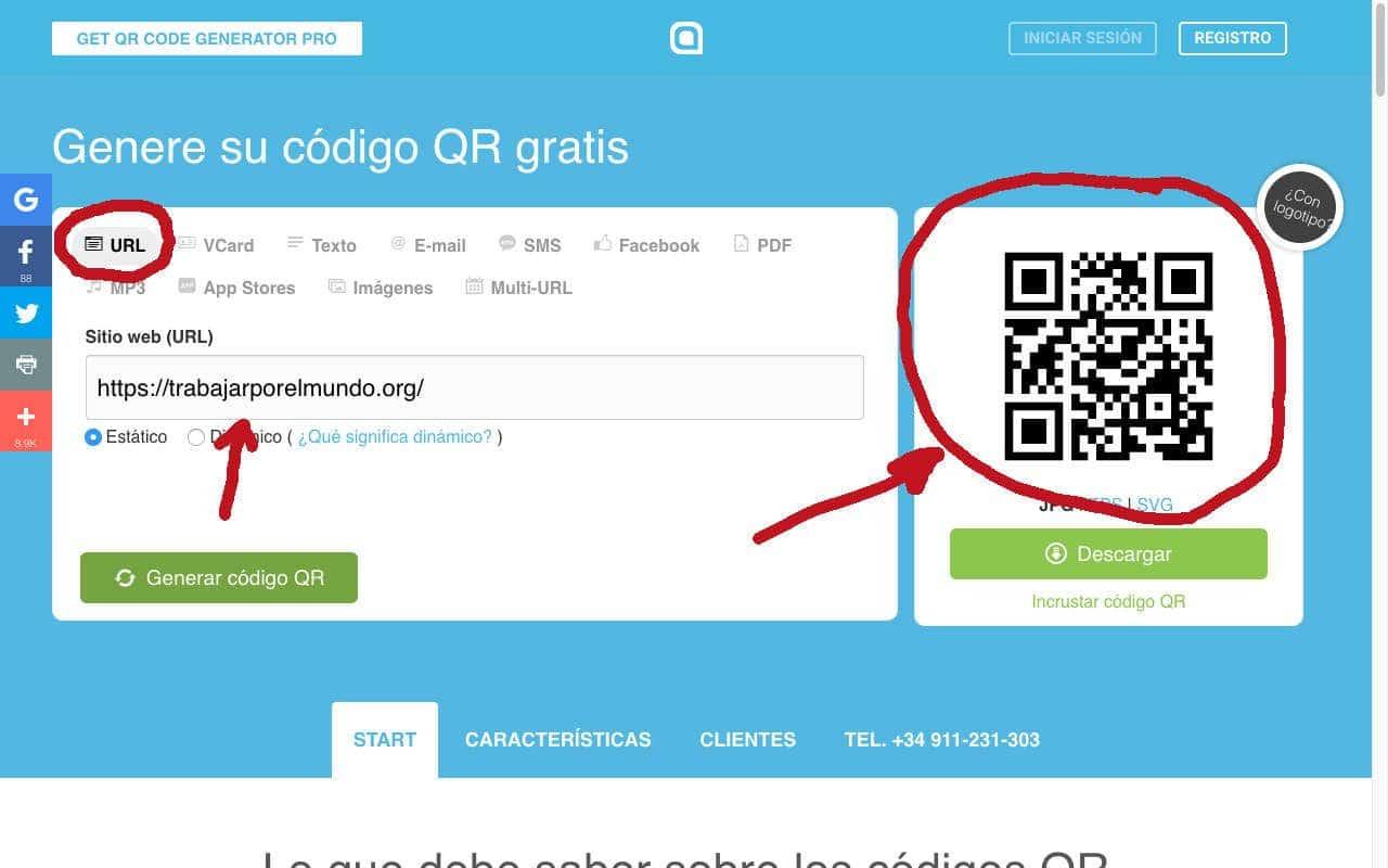 código QR para curriculum ejemplo