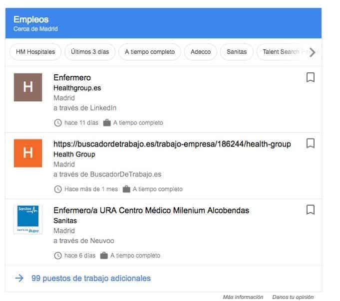 enfermeros en madrid Google Empleos