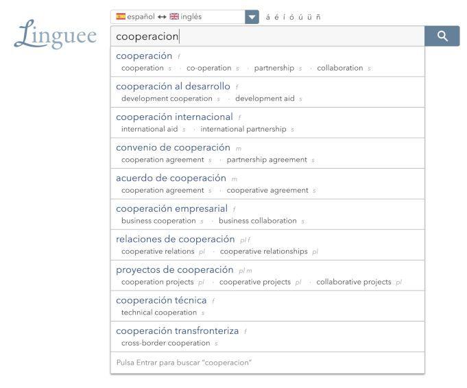 Linguee ejemplo diccionario online gratuito
