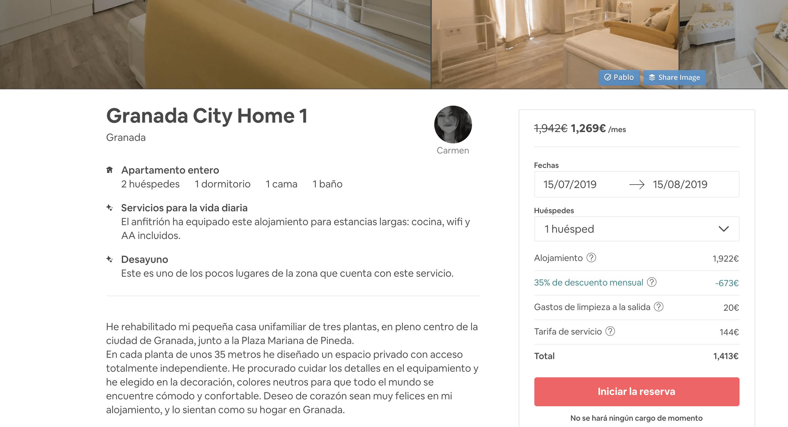 Granada cupón descuento Airbnb