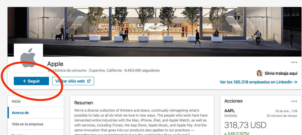 Seguir en LinkedIn a la compañía Apple