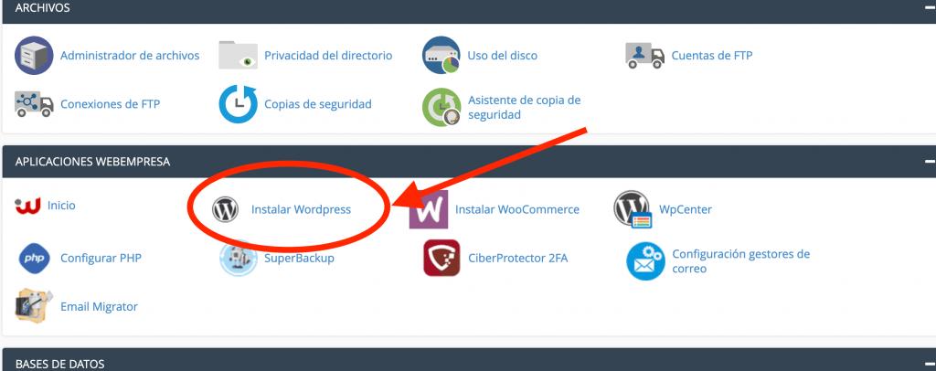 Instalar WordPress en Webempresa. crear un blog de viajes