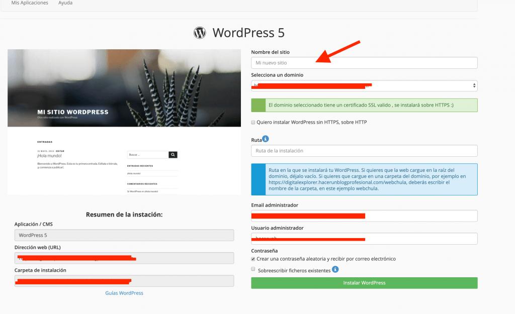 Rellenar el apartado de configuración de WordPress - Crear un blog de viajes