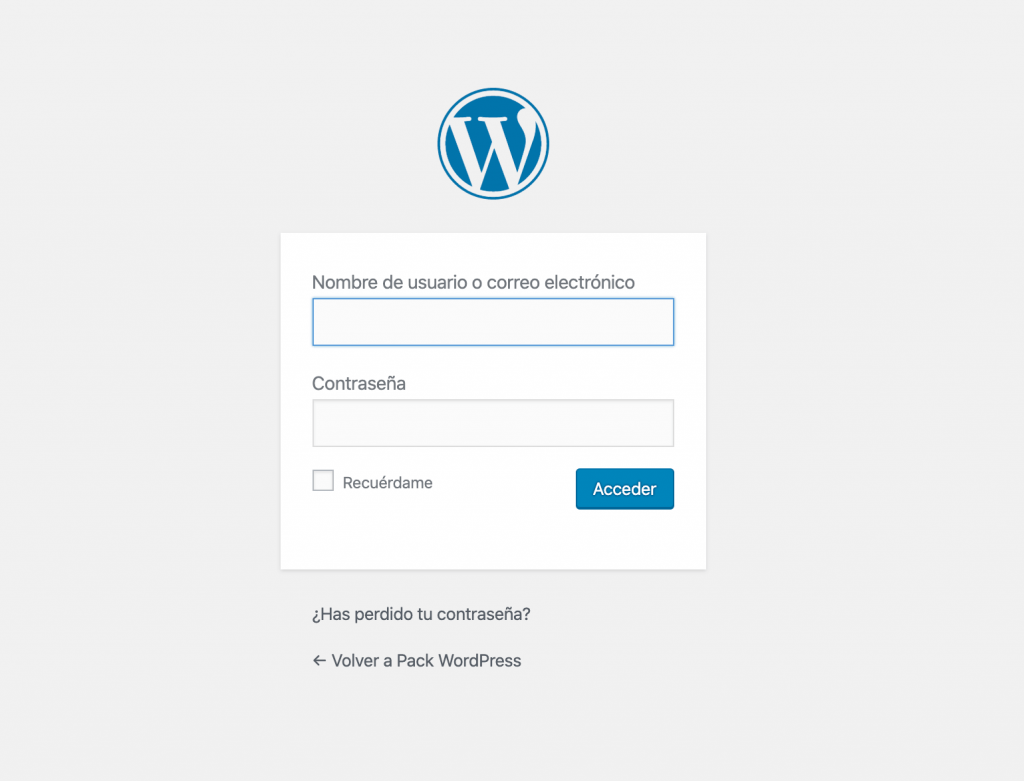 Acceso a WordPress. Crear blog de viajes