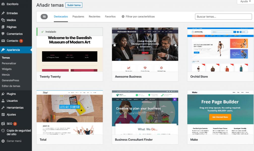 Añadir tema WordPress. Crear un blog de viajes