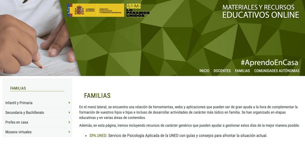 Portal web Aprendoencasa