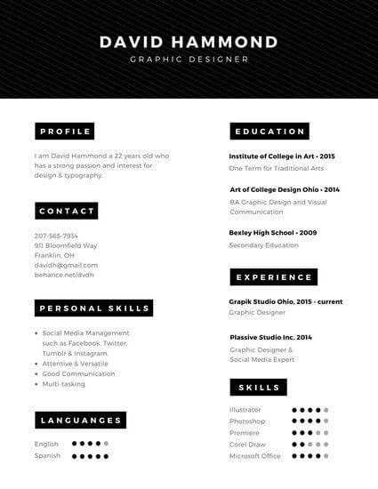 Ejemplo de Currículum en inglés minimalista