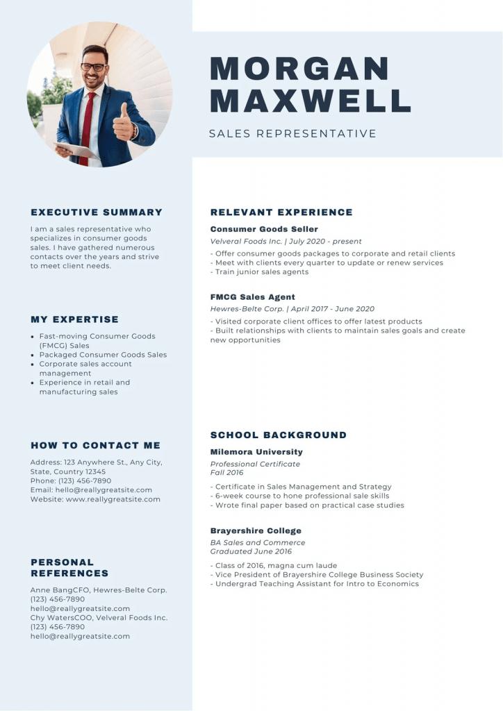 Ejemplo de Currículum en inglés ejecutivo