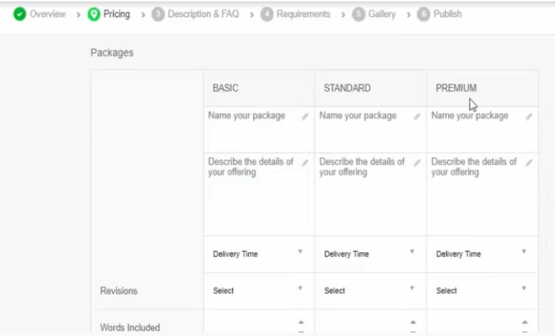 diferentes paquetes: básico, standard y premium en Fiverr