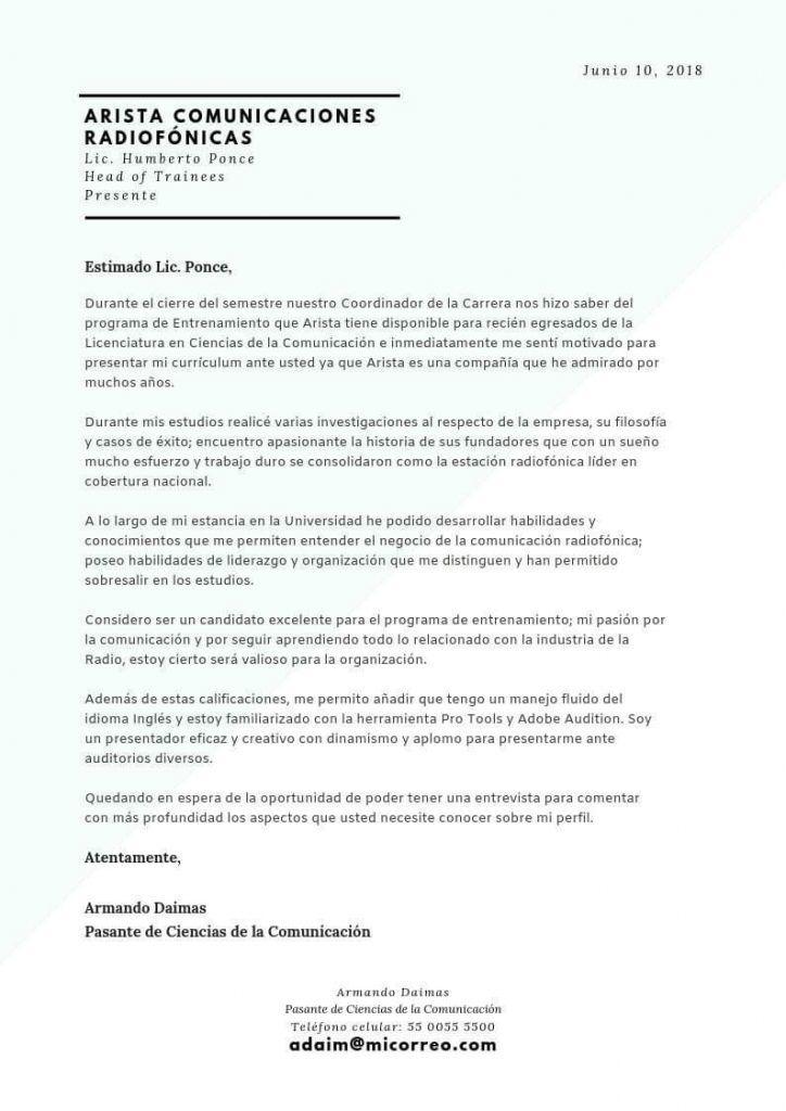 Carta de motivación para profesionales recién graduados