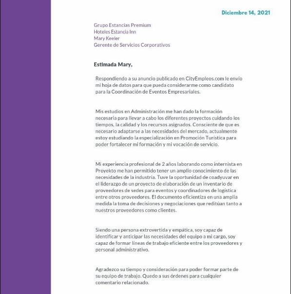 Carta de presentación general