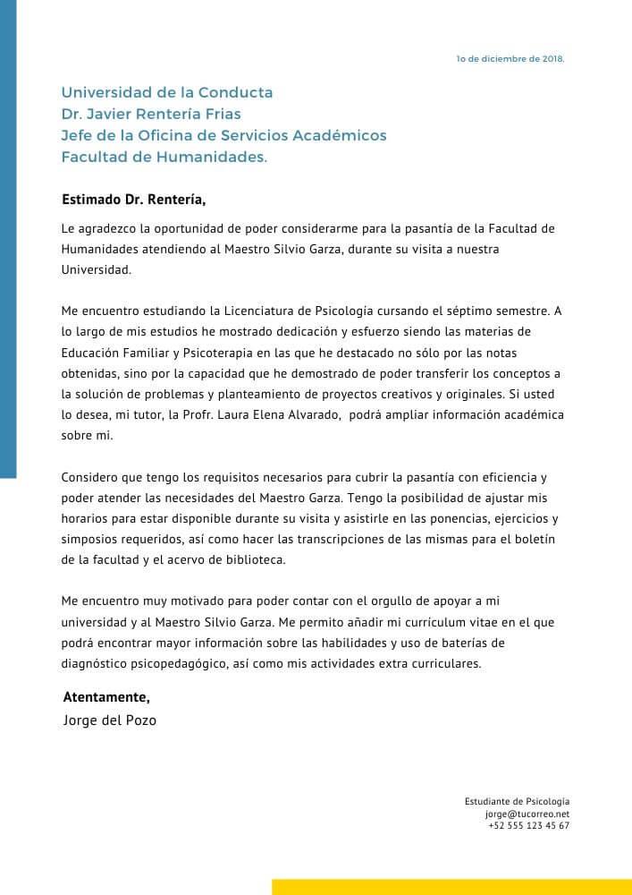Ejemplo de carta presentación para estudiantes universitarios
