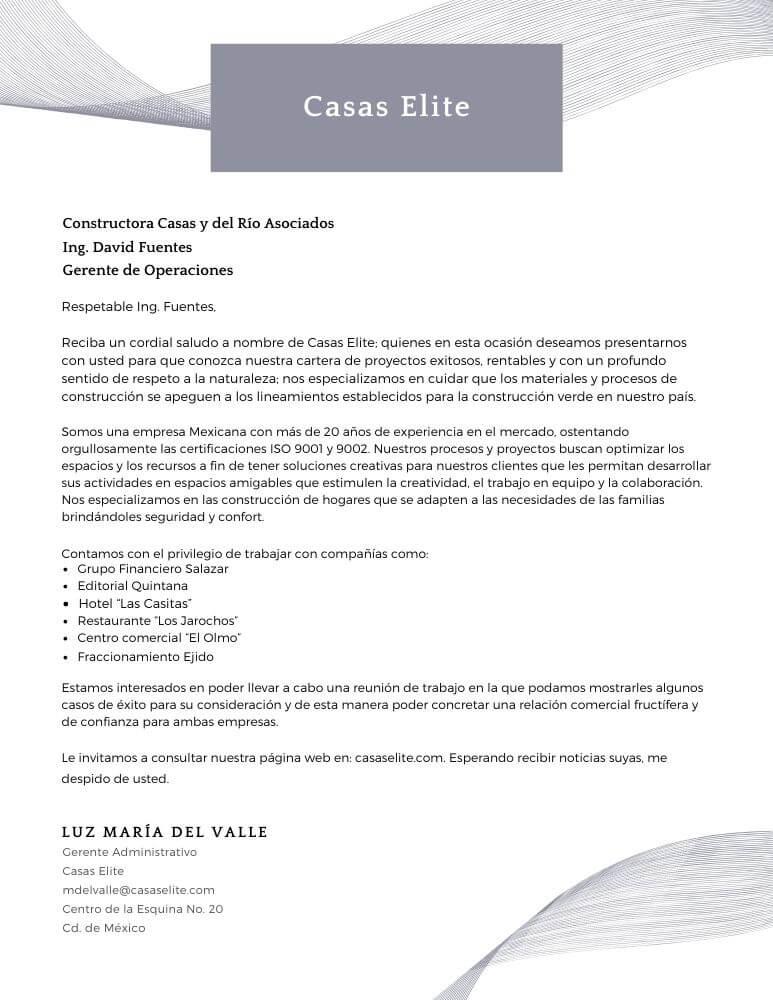 Carta de presentación para servicios profesionales bajo nombre comercial