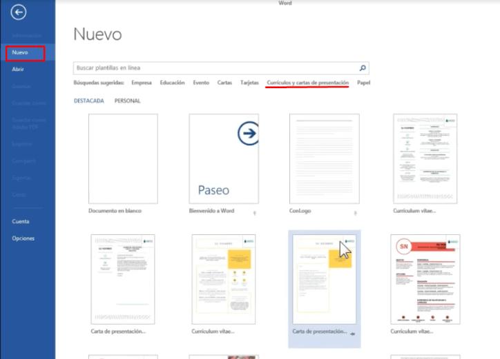 plantillas de carta de presentación de Microsoft Word