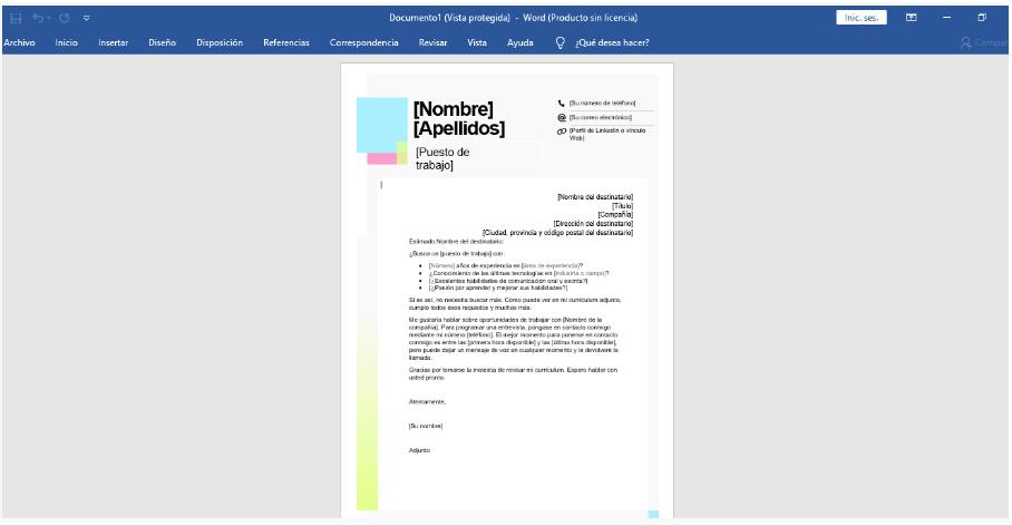 Microsoft Word plantillas carta de presentación