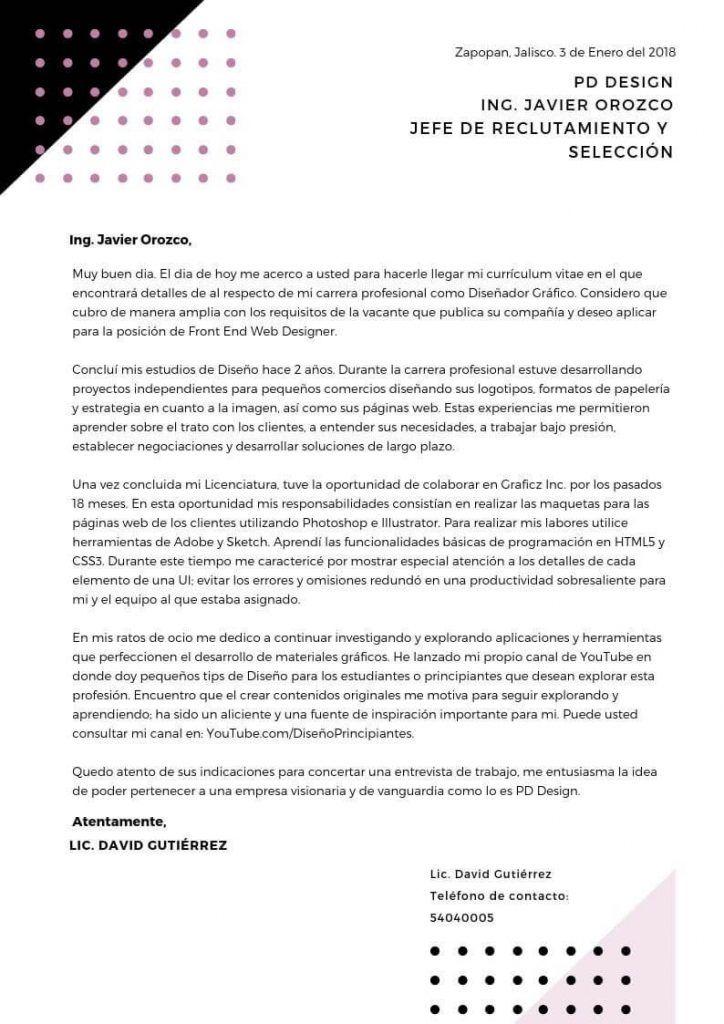 Ejemplo de carta de presentación para profesionales freelance