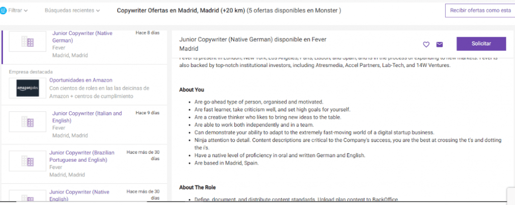 Monster oferta de empleo