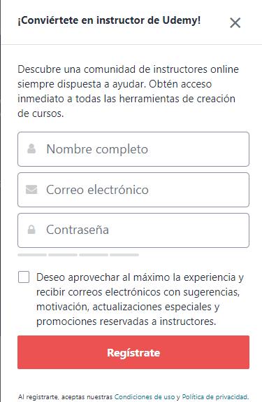 Crear una cuenta en Udemy