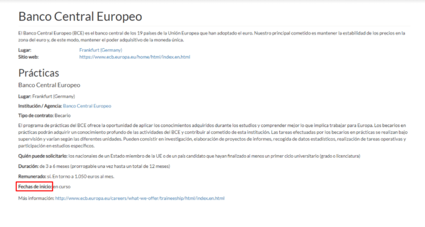 Banco Central Europeo Prácticas