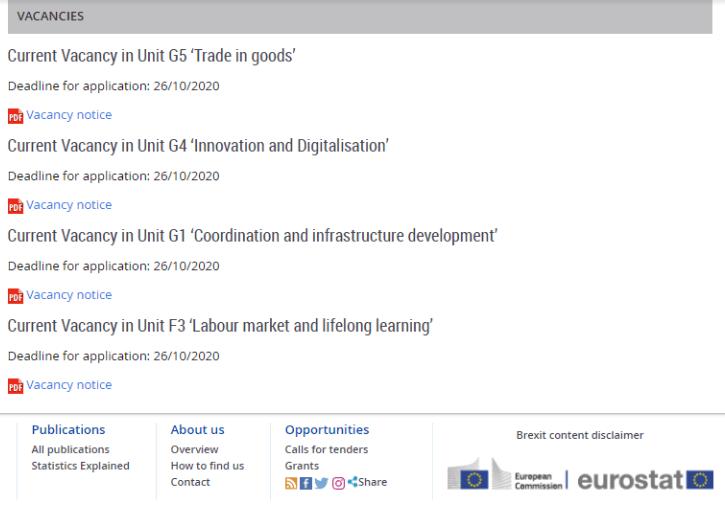 Eurostat - Ofertas de trabajo disponibles