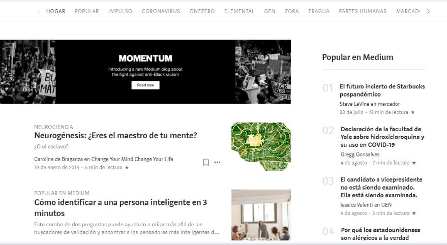 Plataformas blog gratis Medium