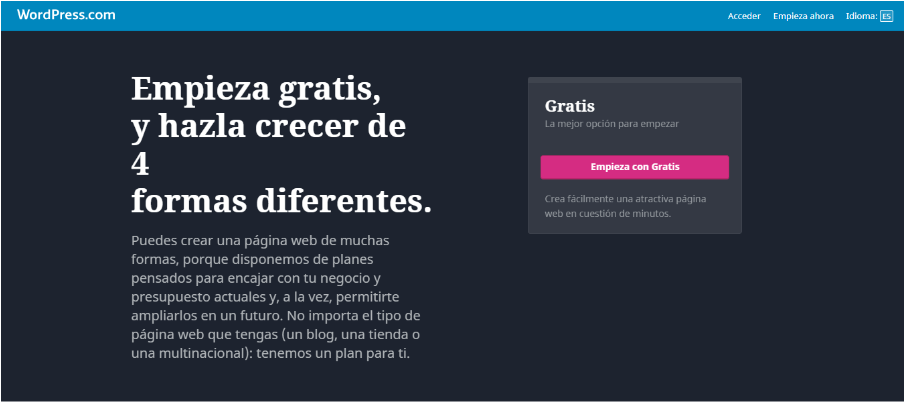 Plataformas blog gratis WordPress