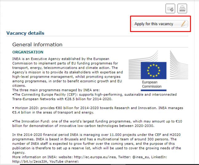 oferta de empleo en la comisión europea