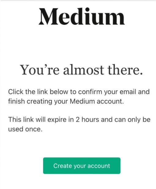 confirmar acceso a Medium