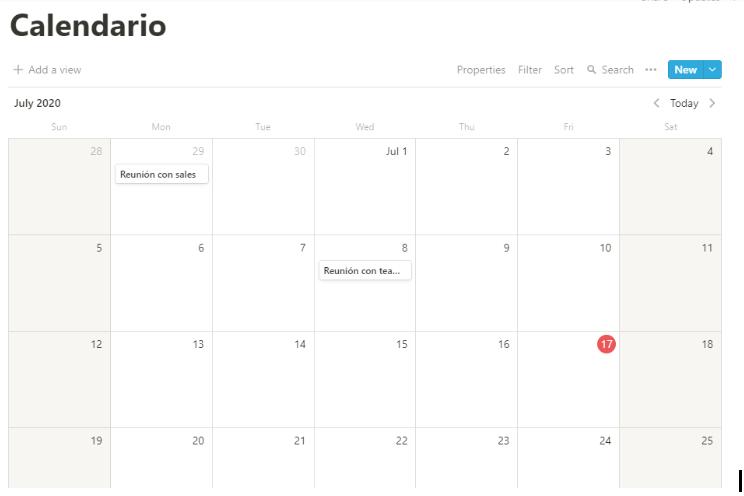 Calendario gestión en Notion