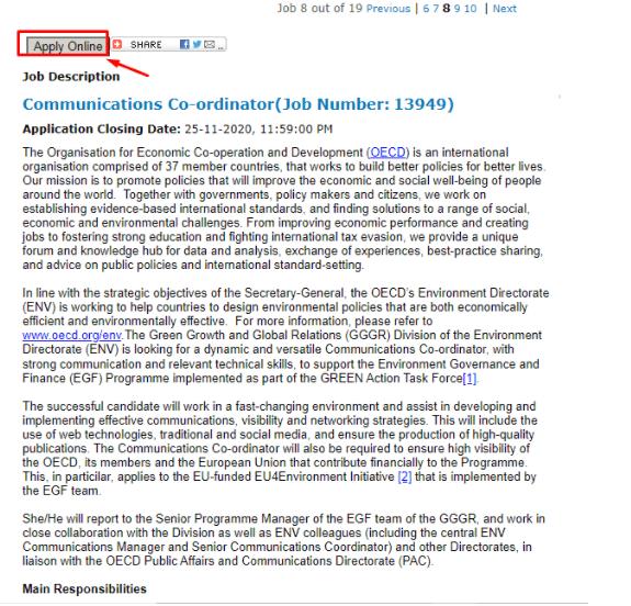OCDE - ofertas de trabajo
