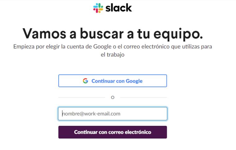 Continúa con tu correo electrónico de uso en el trabajo para iniciar slack
