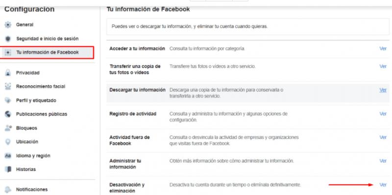 Elimina tu cuenta de facebook