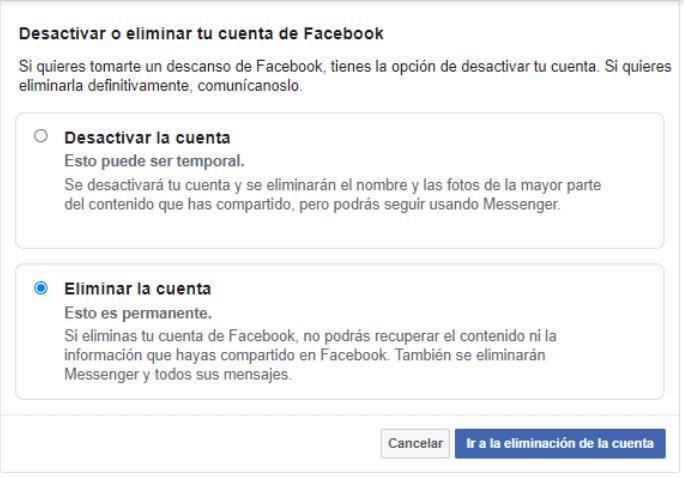 proceder a eliminar tu cuenta Facebook