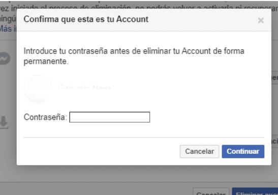 Confirma que deseas eliminar tu cuenta de Facebook