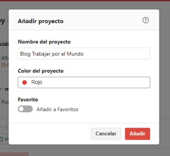 Añdir proyecto Todoist