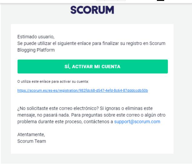 verifica email Scorum