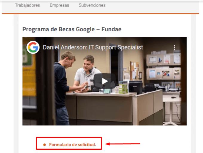 becas de Google en colaboración con Fundae y SEPE