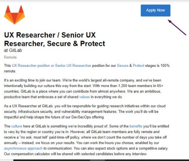 Aplicar a empleo en Gitlab