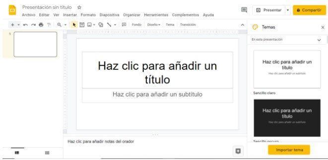 crear una presentación desde cero Google slide