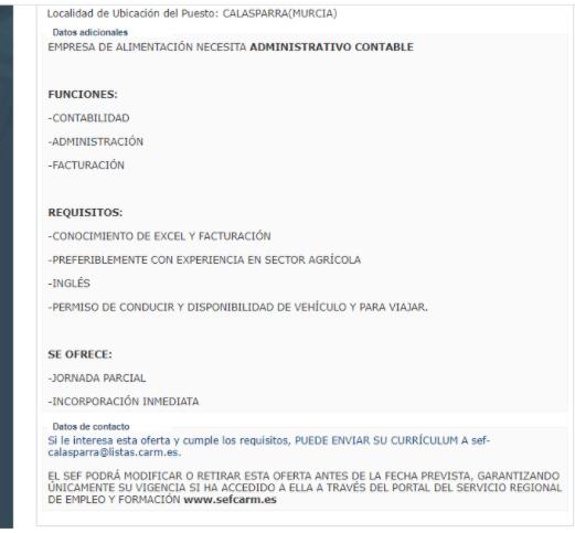 empleo en Murcia a través de Sefcarm