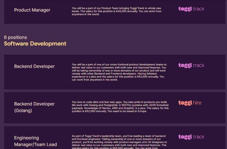 trabajar en remoto en Toggl