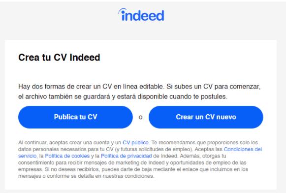 Crear CV en Indeed