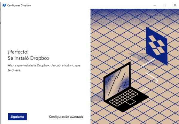 se ha instalado Dropbox