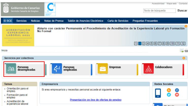 ofertas de trabajo del SCE en las Islas Canarias