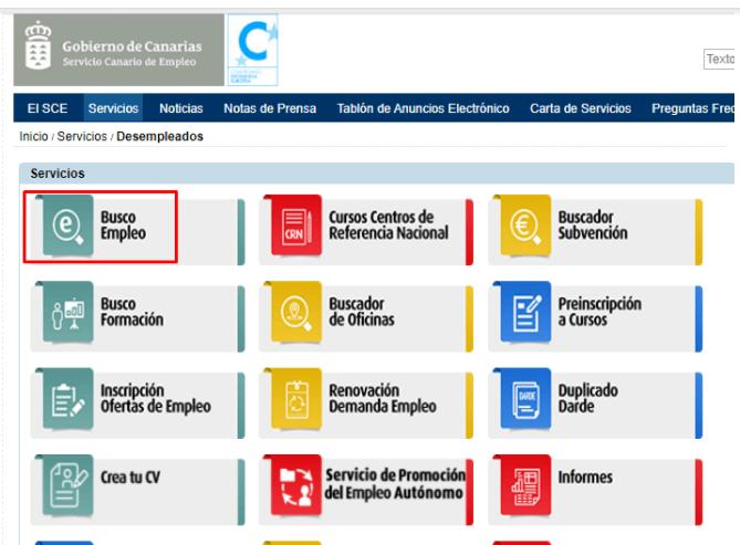 ofertas de empleo del SCE en las Islas Canarias