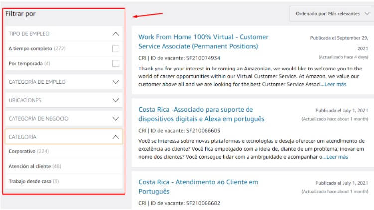 empleo de Amazon en Costa Rica