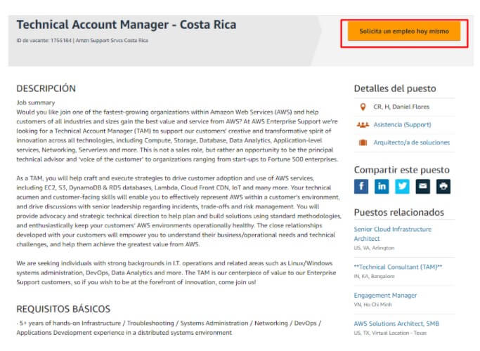 recursos humanos de Amazon Costa Rica
